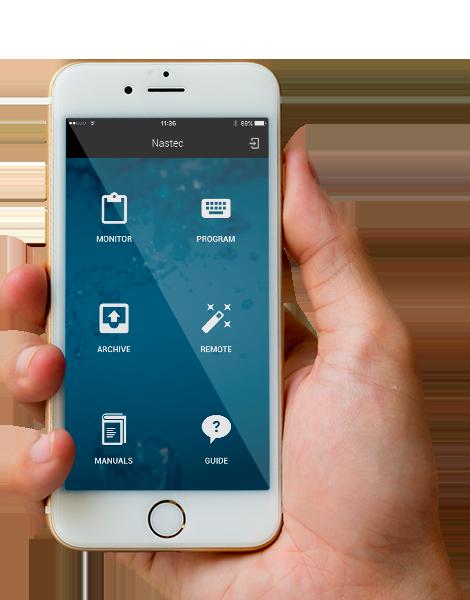 Общий вид приложения VASCO на смартфоне. Приложение для управления преобразователем частоты.