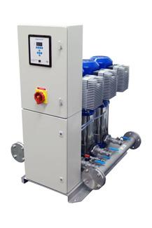 общий вид насосной станции dp-pumps водоснабжения со шкафом управления  (Голландия)
