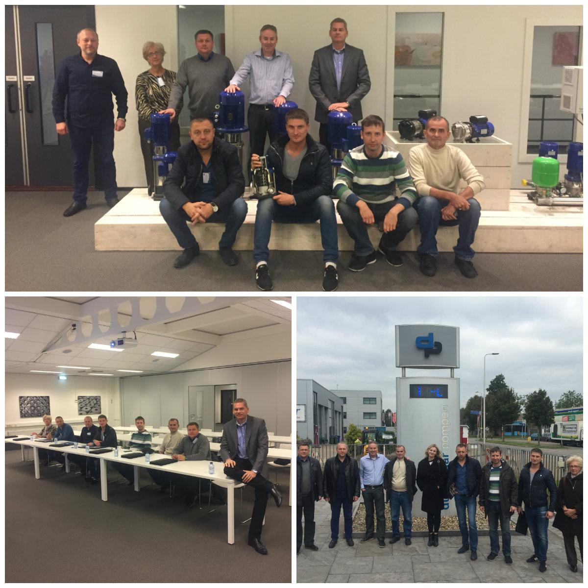 Вторая бизнес поездка 2016 года от IWT в Голландию на завод DP-Pumps. Группа инженеров-специалистов в области насосного обородувания и систем водоснабжения.