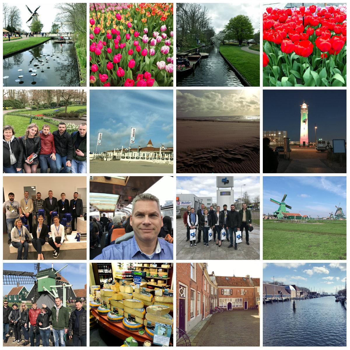 Фотоколаж весенней поездки на завод DP-Pumps (насосы и насосные станции) группы украинских инженеров от компании IWT.