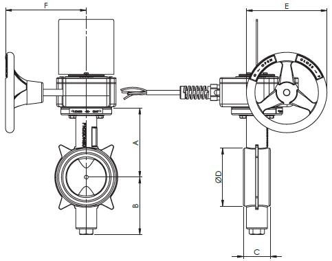 Габаритные размеры дискового межфланцевого затвора rapidrop, модель 203 APSAD