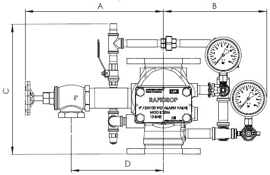Рис. 2. Схема размеров водосигнального клапана