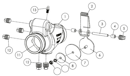 Рис. схемы клапана обратного муфтового, модель 301