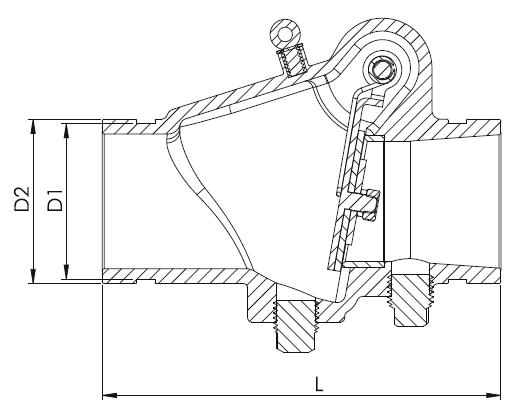 Рис.2 схемы клапана обратного муфтового, модель 301
