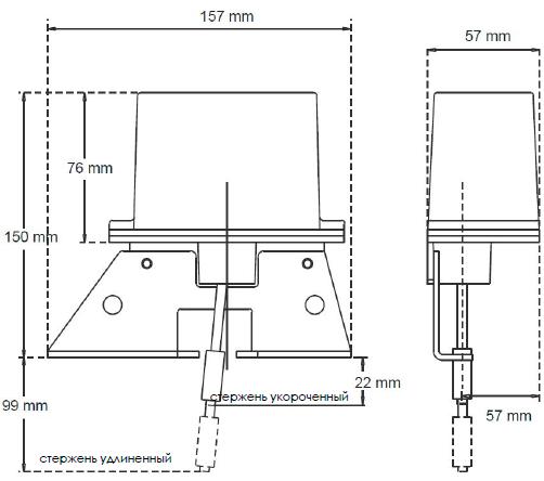 Рисунок 1. Размеры датчика индикатора клиновой задвижки