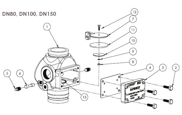 Схема водосигнального клапана в разобраном виде