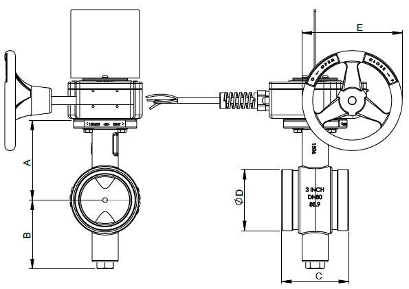 Схематический рисунок дискового муфтового затвора