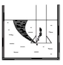 Эффективно противостоять возникновению вихря внутри всасывающего патрубка помогает раструб (колокол) на конце трубопровода (иллюстрация).