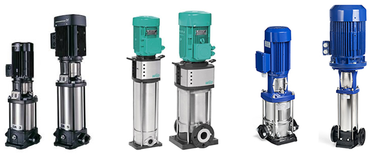 Наиболее популярные вертикальные насосы повышения давления воды: DP-Pumps (Нидерланды) – DPV, у Wilo (Германия) – MVI, Helix, y Grundfos (Дания) – CR