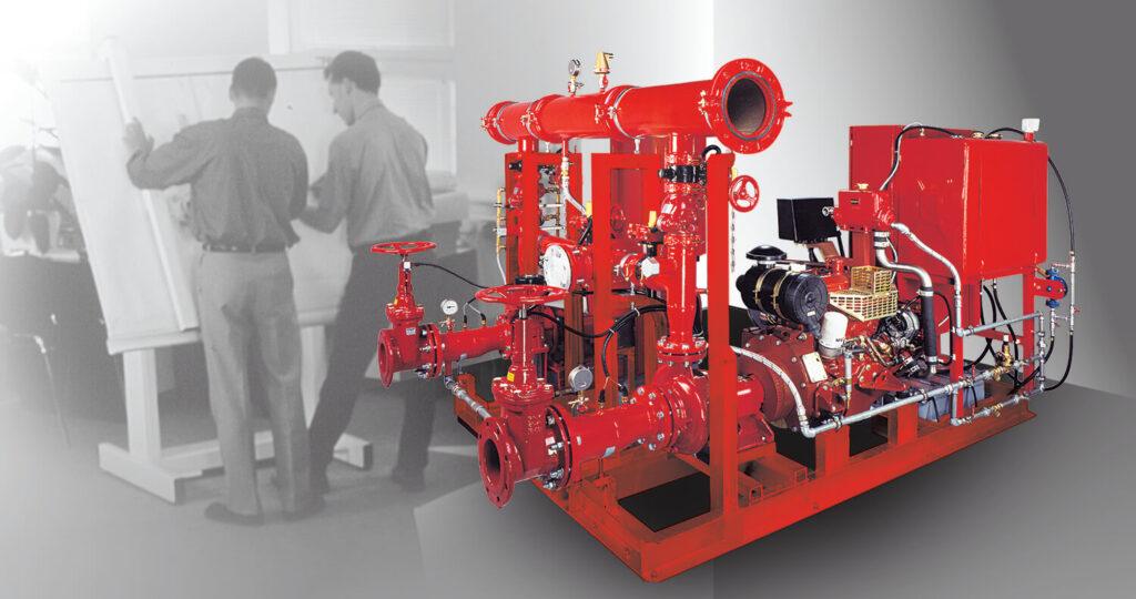 Станция пожаротушения с двигателем внутреннего сгорания. Международная сертификация.
